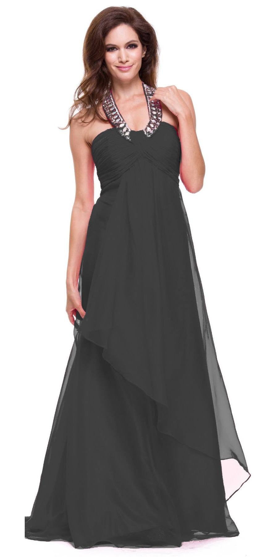 Black Halter Dress Corporate Event Long Soft Chiffon Empire Waist