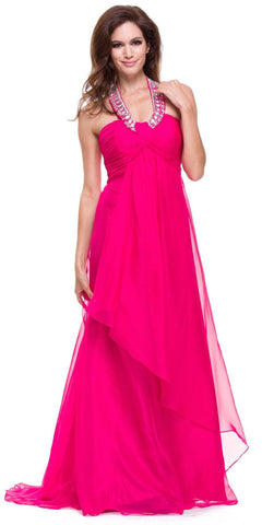 Fuchsia Halter Dress Corporate Event Long Soft Chiffon Empire Waist