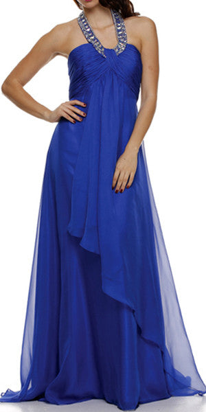 Royal Halter Dress Corporate Event Long Soft Chiffon Empire Waist