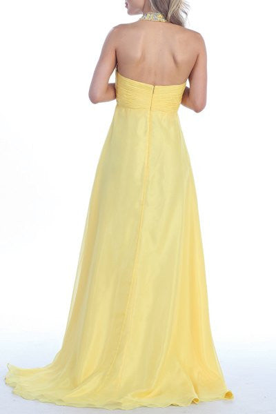 Yellow Halter Dress Corporate Event Long Soft Chiffon Empire Waist