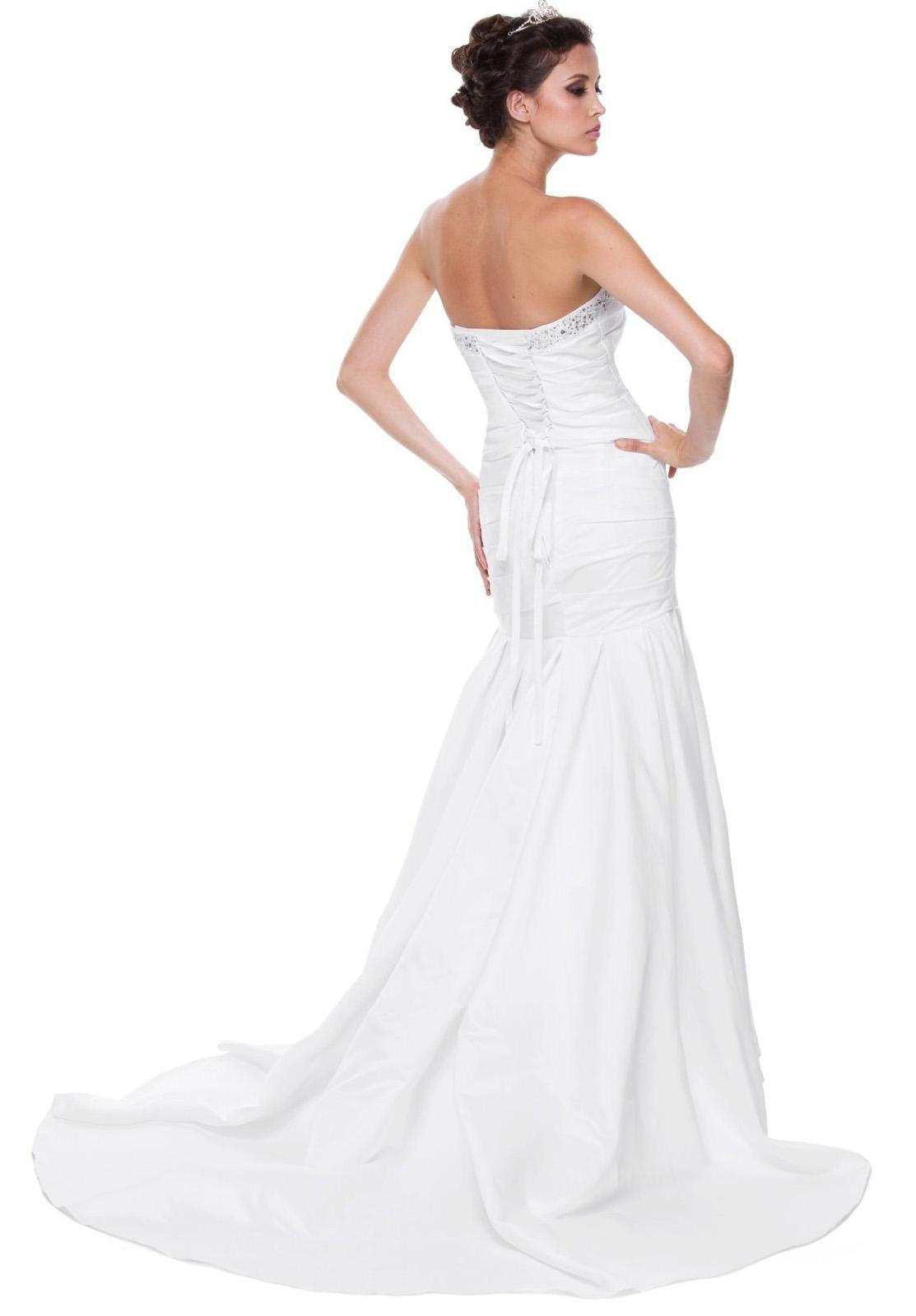 White Mermaid Wedding Gown Satin Lace Up Back Strapless Train Bow ...