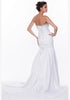 White Mermaid Wedding Gown Satin Lace Up Back Strapless Train Bow Back