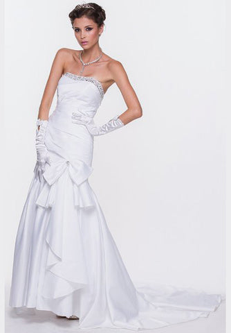 White Mermaid Wedding Gown Satin Lace Up Back Strapless Train Bow