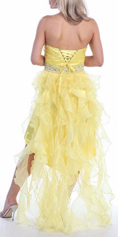 ON SPECIAL - LIMITED STOCK - Yellow High Low Dress Homecoming Knee Length Organza Ruffle Train