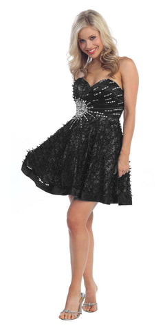 Lace Overlay Black Silver Short Dress A Line Strapless Rhinestones