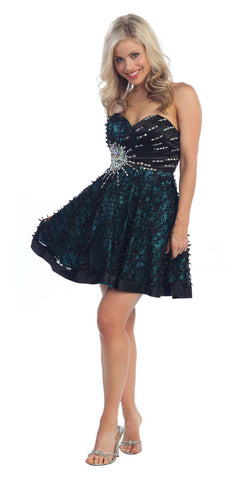 Lace Overlay Black Teal Short Dress A Line Strapless Rhinestones