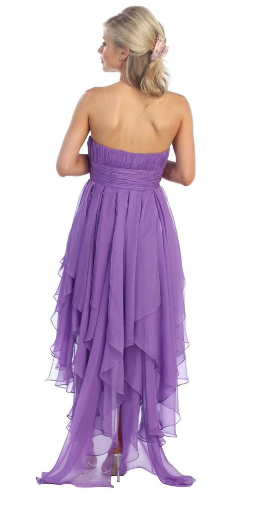 Dark Lilac Dress High Low Chiffon Strapless Layer Skirt Rhinestones