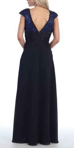 V Back/Neckline Red Dress Black Cap Sleeves Lace Overlay Gown