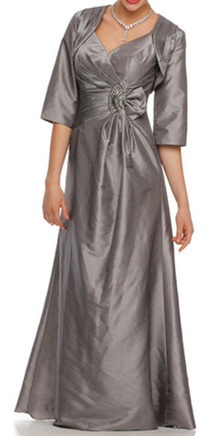 ON SPECIAL - LIMITED STOCK - Silver Marine Ball Gown Matching Bolero Jacket Taffeta V Neck