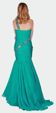 Long Prom Gown with Beaded One-Shoulder Strap Jade