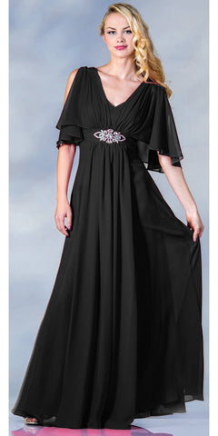 Long Chiffon Grecian Black Dress Mid Length Sleeves V Neck