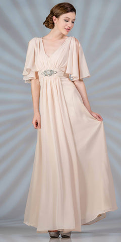 Cinderella Divine 1295 Long Chiffon Grecian Champagne Dress Mid Length Sleeves V Neck