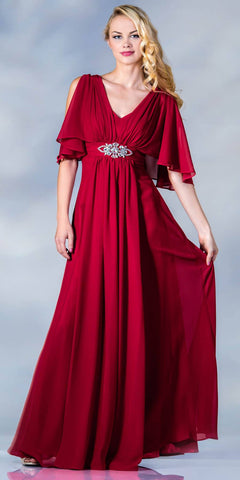 Cinderella Divine 1295 Long Chiffon Grecian Red Dress Mid Length Sleeves V Neck