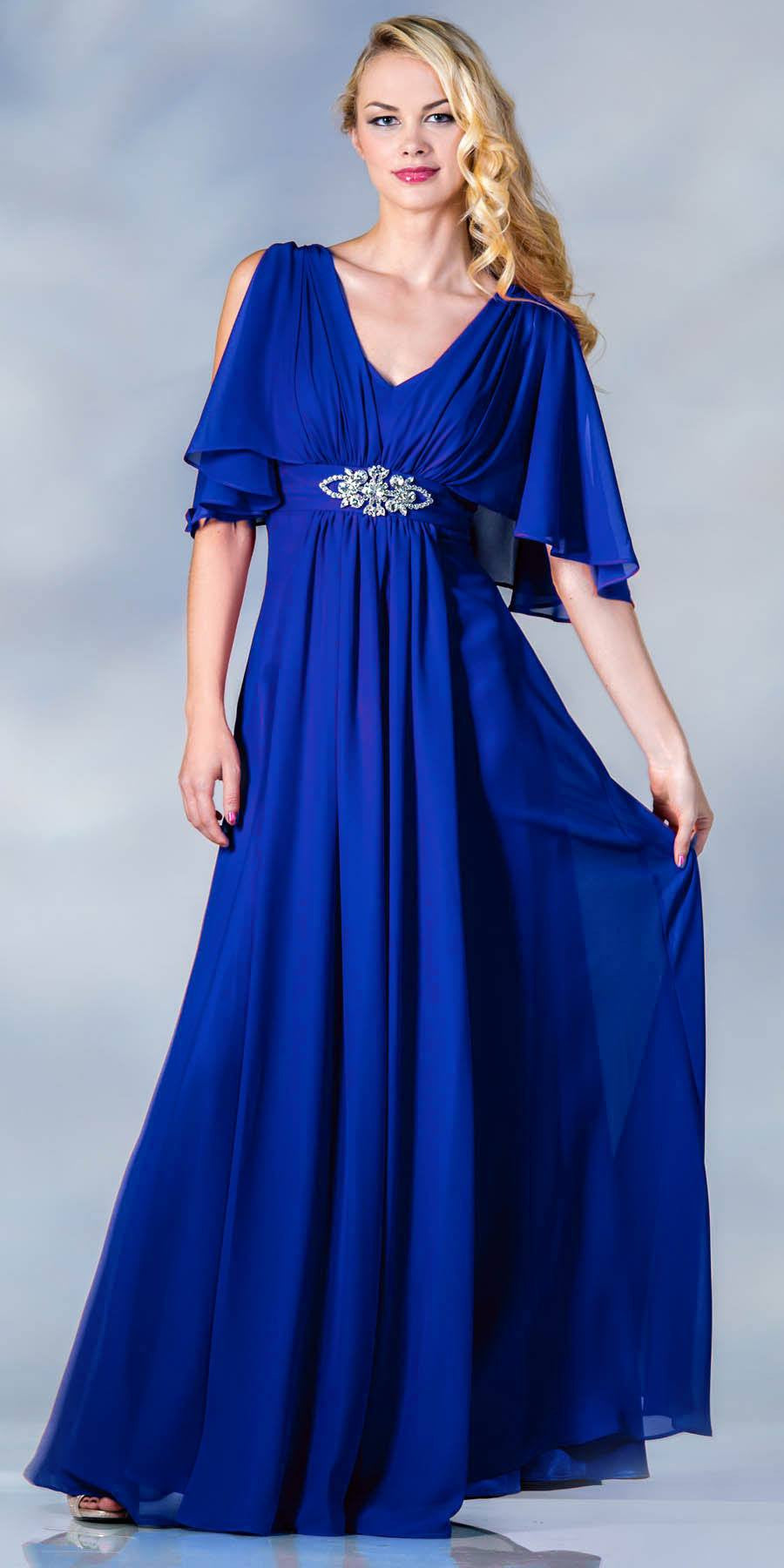 8c7889e0b92b Cinderella Divine 1295 Long Chiffon Grecian Royal Blue Dress Mid Length  Sleeves V Neck ...