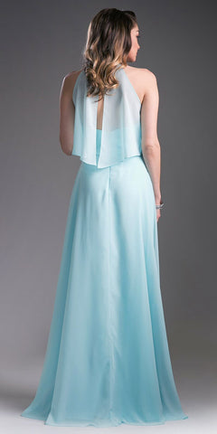 Ruffled Bodice Halter Floor Length Formal Dress Mint