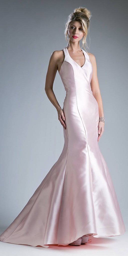 Cinderella Divine 13038 Floor Length Mermaid Satin Dress Blush Halter V Neckline