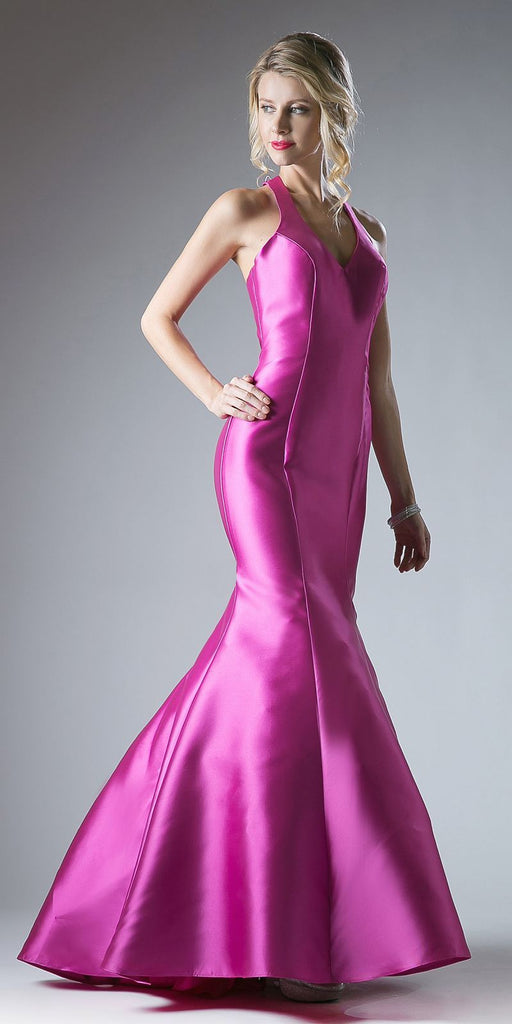Cinderella Divine 13038 Floor Length Mermaid Satin Dress Fuchsia Halter V Neckline