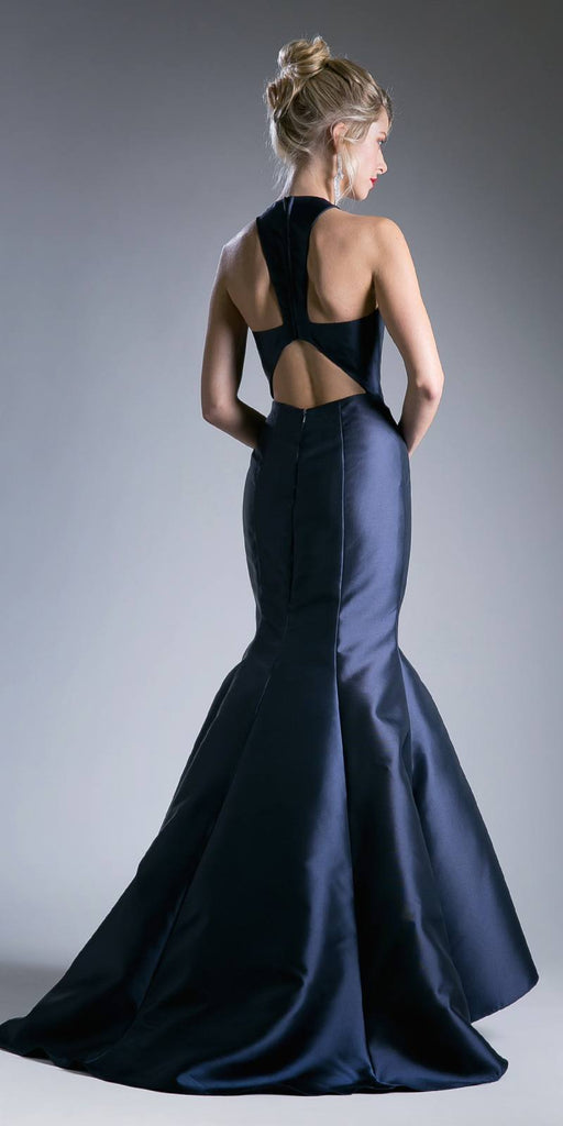 Cinderella Divine 13038 Floor Length Mermaid Satin Dress Navy Blue Halter V Neckline