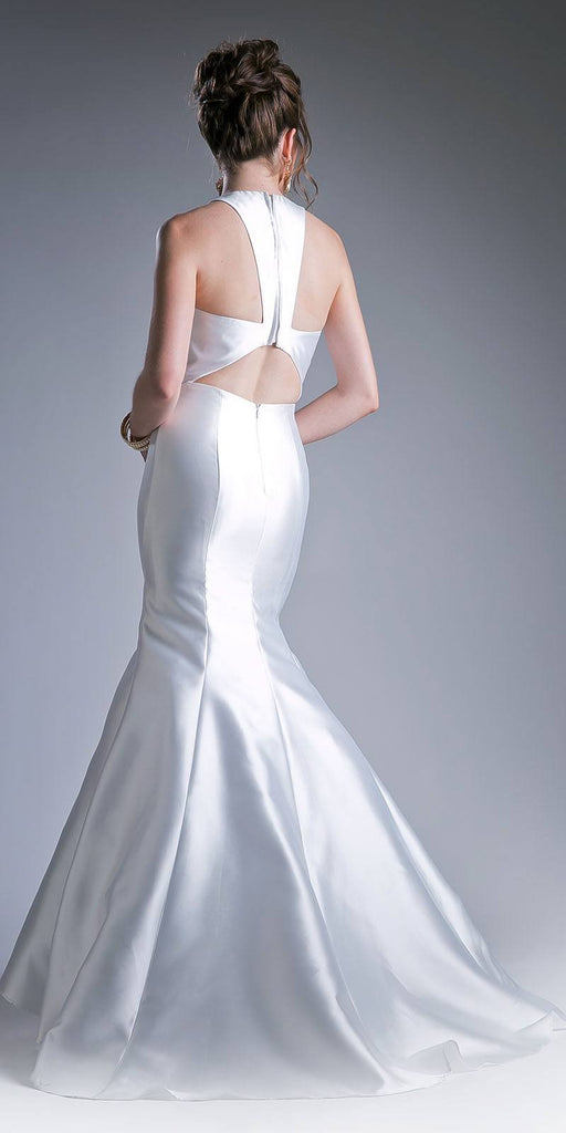 Cinderella Divine 13038 Floor Length Mermaid Satin Dress Off White Halter V Neckline