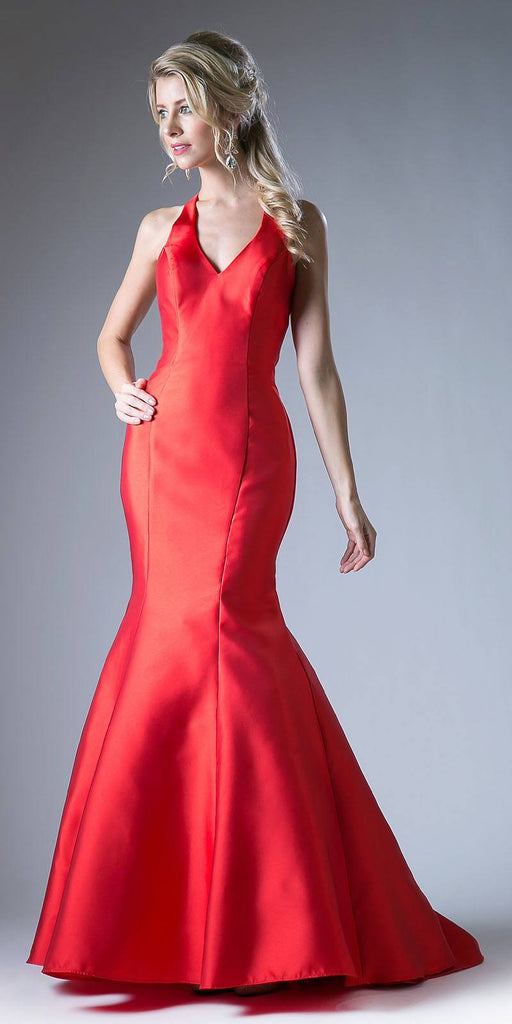 Cinderella Divine 13038 Floor Length Mermaid Satin Dress Red Halter V Neckline