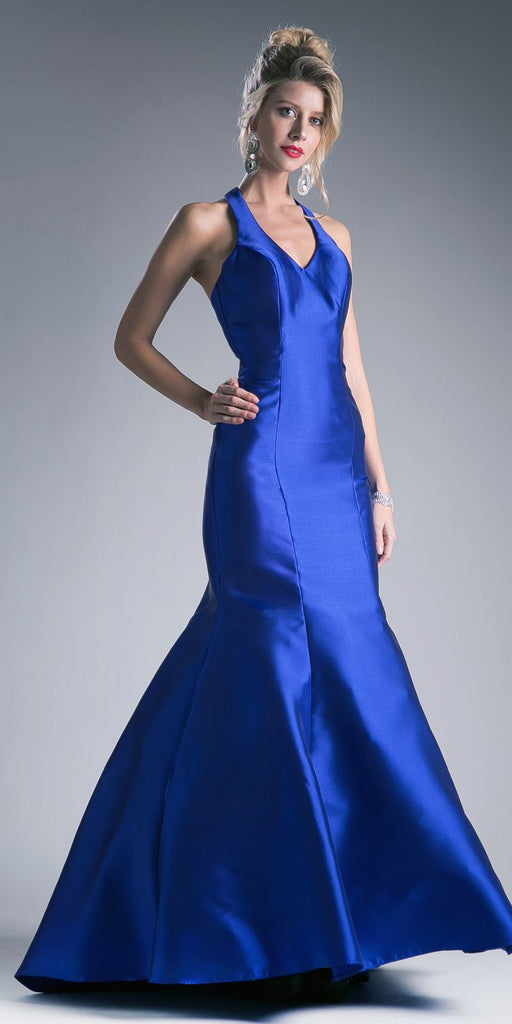 Cinderella Divine 13038 Floor Length Mermaid Satin Dress Royal Blue Halter V Neckline