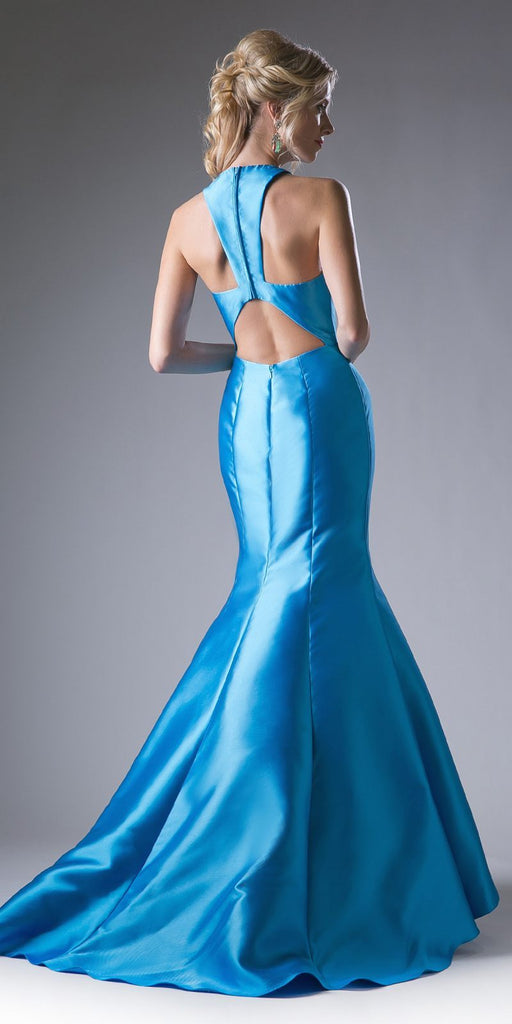 Cinderella Divine 13038 Floor Length Mermaid Satin Dress Turquoise Halter V Neckline