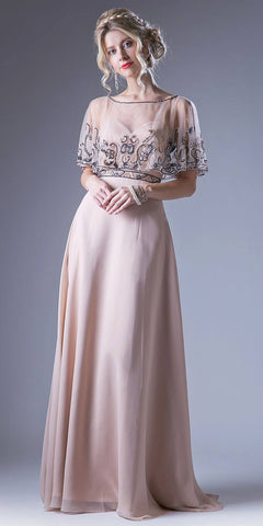 Champagne Bateau Neck Floor Length Formal Dress with Embroidered Poncho