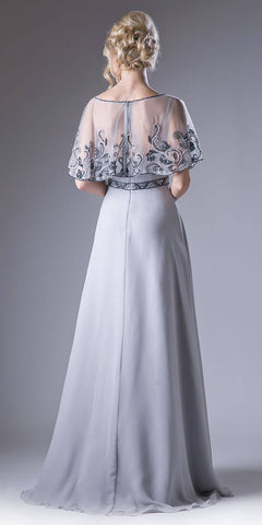 Gray Bateau Neck Floor Length Formal Dress with Embroidered Poncho