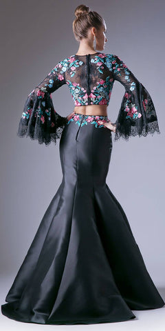 Embroidered Crop Top Two Piece Prom Gown Trumpet Sleeves Black