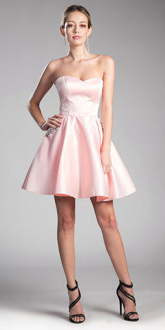 Strapless Homecoming Dress with Beaded Pockets Blush