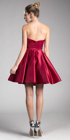 Strapless Homecoming Dress with Beaded Pockets Burgundy