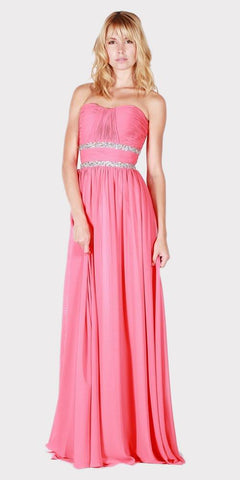 Pink Strapless A-line Long Formal Dress Ruched Bodice