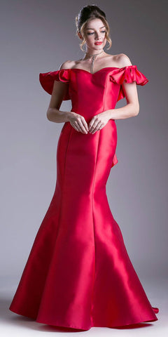 Off Shoulder Mermaid Prom Gown Ruffled Back Red