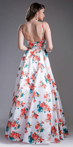 White Print A-Line Long Prom Dress Spaghetti Strap Sweetheart Neckline