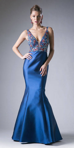 Long A-Line Sequin Gown Navy Blue Floral Design Criss Cross Back