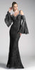 Cinderella Divine 13112 Black Cold Shoulder Long Formal Sheath Dress Trumpet Long Sleeves