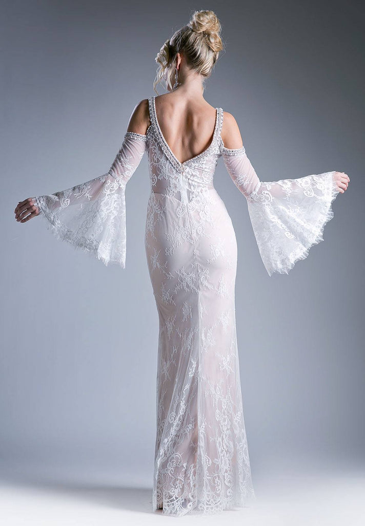 Cinderella Divine 13112 Champagne Cold Shoulder Long Formal Sheath Dress Trumpet Long Sleeves Back View