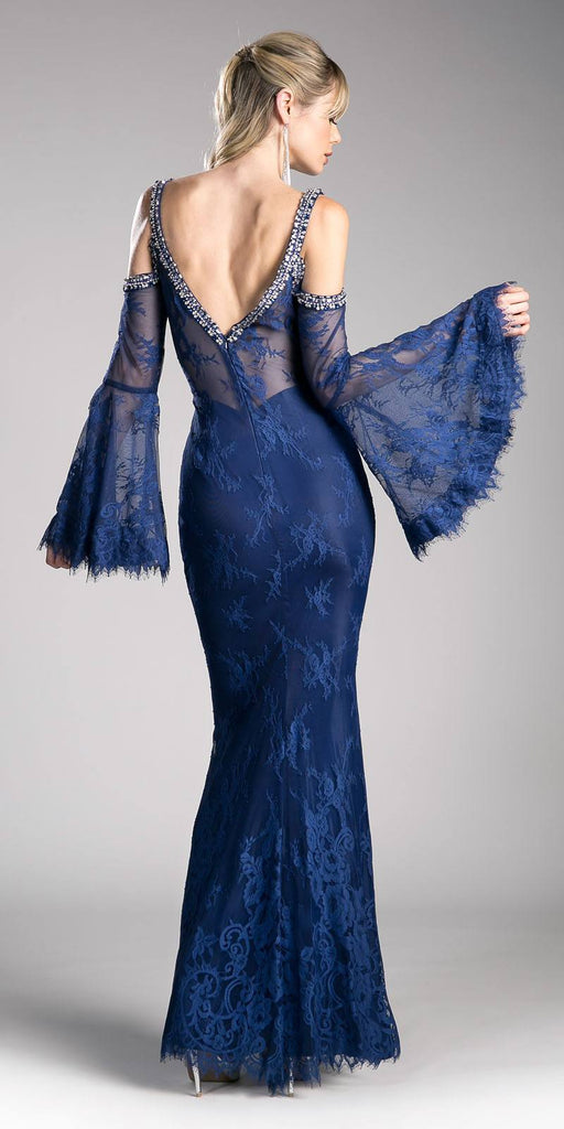 Cinderella Divine 13112 Navy Blue Cold Shoulder Long Formal Sheath Dress Trumpet Long Sleeves Back View