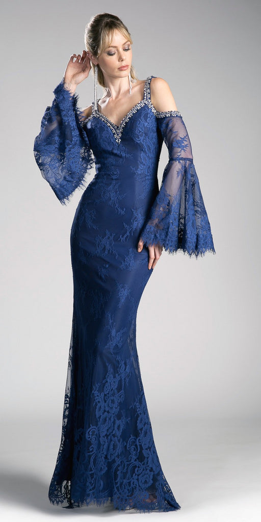 Cinderella Divine 13112 Navy Blue Cold Shoulder Long Formal Sheath Dress Trumpet Long Sleeves