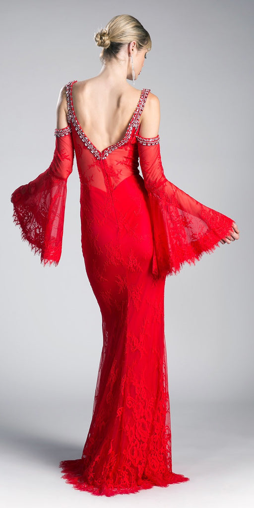 Cinderella Divine 13112 Red Cold Shoulder Long Formal Sheath Dress Trumpet Long Sleeves Back View