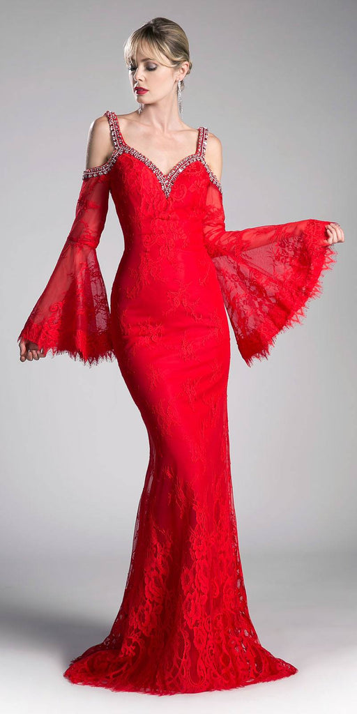 Cinderella Divine 13112 Red Cold Shoulder Long Formal Sheath Dress Trumpet Long Sleeves