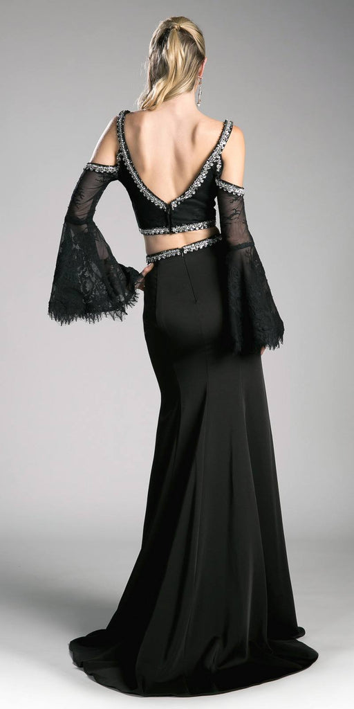Cinderella Divine 13114 Black Two Piece Prom Gown Cold Shoulder Trumpet Sleeves Back View