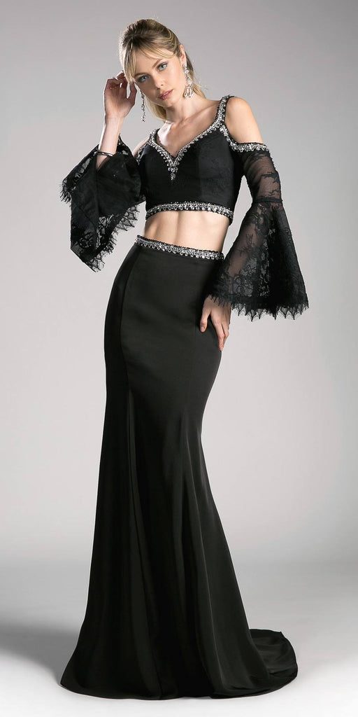 Cinderella Divine 13114 Black Two Piece Prom Gown Cold Shoulder Trumpet Sleeves