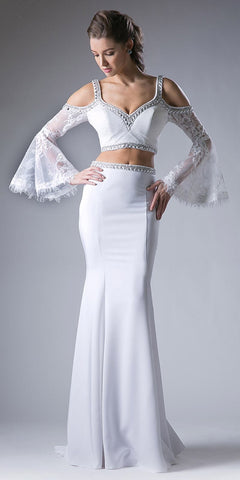 Off White Two Piece Prom Gown Cold Shoulder Trumpet Sleeves