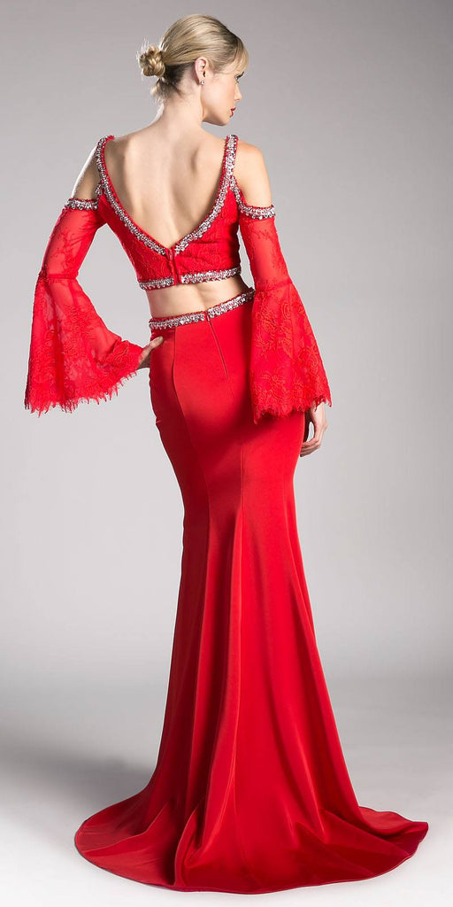 Cinderella Divine 13114 Red Two Piece Prom Gown Cold Shoulder Trumpet Sleeves Back View