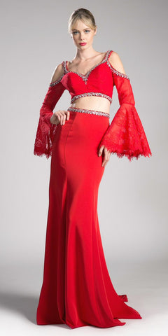 Cinderella Divine 13114 Red Two Piece Prom Gown Cold Shoulder Trumpet Sleeves