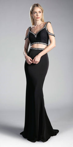 Black Cold-Shoulder Crop Top Two-Piece Long Prom Dress