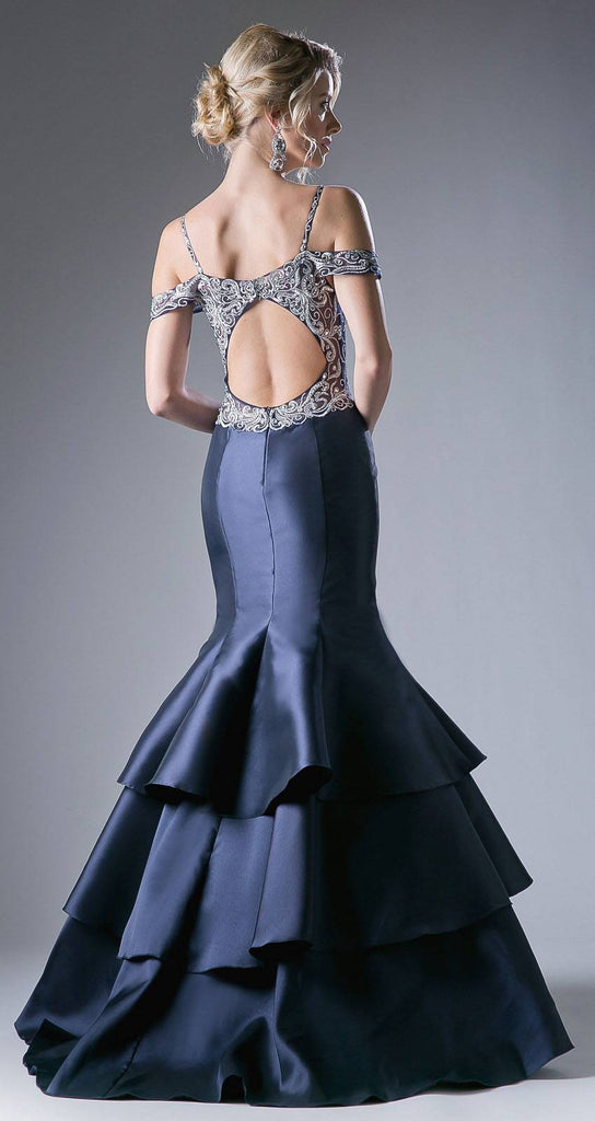 Cut-Out Back Tiered Mermaid Prom Gown Navy Blue