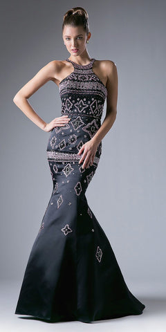 Black/Pink Halter Beaded Mermaid Prom Gown Cut-Out Back