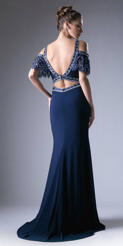 Cold-Shoulder V-Neck Beaded Long Prom Dress Navy Blue